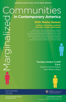 Talk today: Marginalized Communities in Contemporary America with Masha Gessen