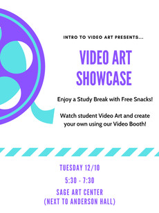 Join us for the Video Art Showcase on 12/10, 5:30-7:30pm
