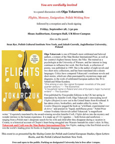 Panel Discussion with Olga Tokarczuk on September 28 @ 7:30