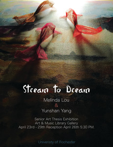 "opening reception tonight @ 5:30 in amlg // ""stream to dream"" by melinda lou & yunshan yang"