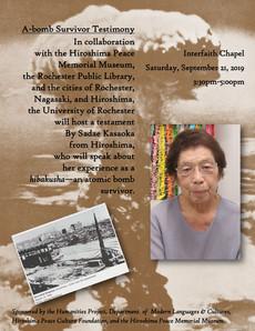 9/21 : A-bomb Survivor, Sadae Kasaoka, will speak about her experience at the Interfaith Chapel.
