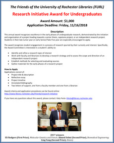 Research Initiative Award for Undergrads Due 11/16/18
