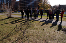sculpture students make great use of one of the last warm fall days
