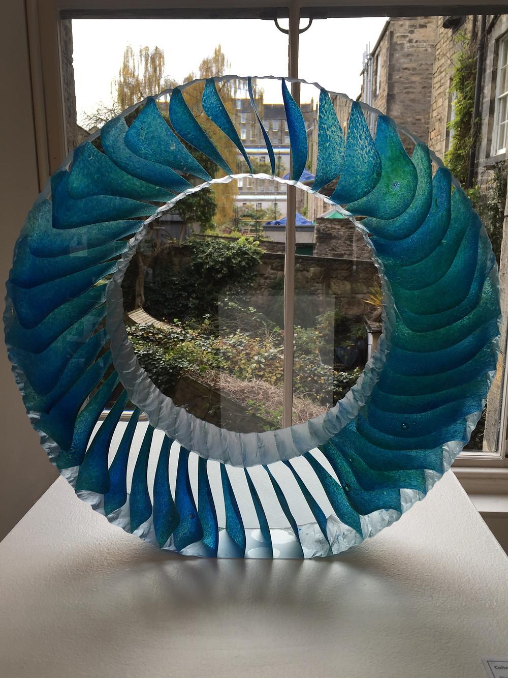 Ring of Aqua by Colin Reid. Cast optical glass.