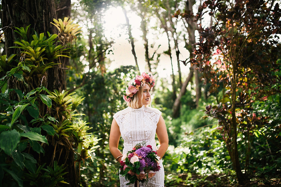 Bride with makeup and hair styling in Hawaii