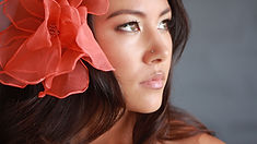 Bride with silk flower in hair