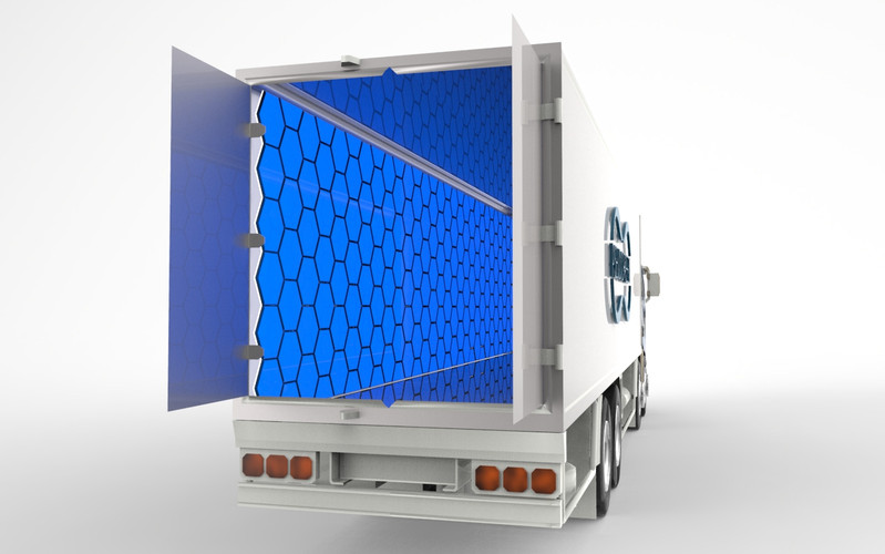 PseudoFreeze's Panels can be placed in cabins as in trucks to transport both food and medicines.