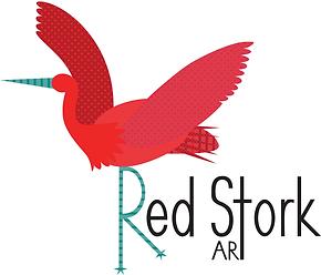Red Stork Art-Kids Wall Art-Nursery Wall Art