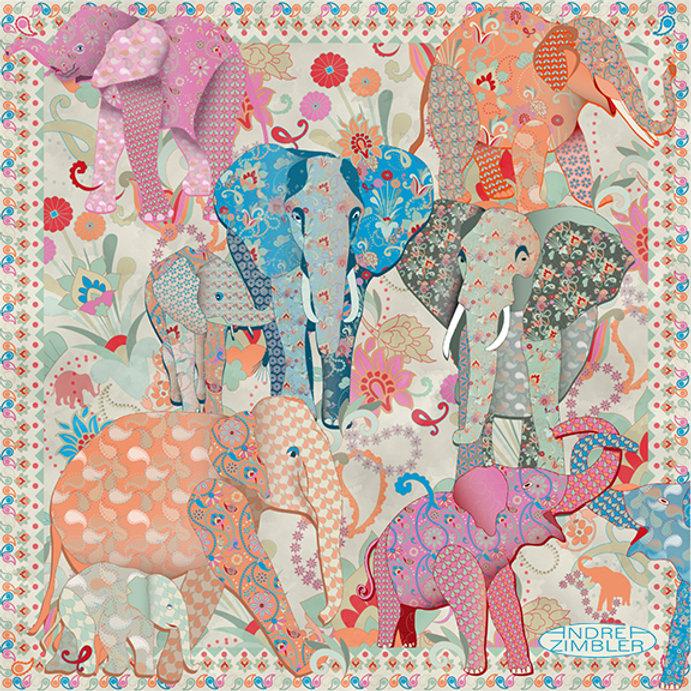 Red Stork Art-Andrea Zimbler-Elephant-Pu