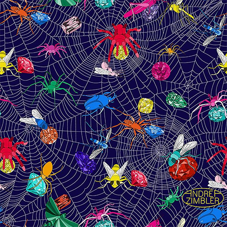 Andrea Zimbler-Red Stork Art-Spider Web-