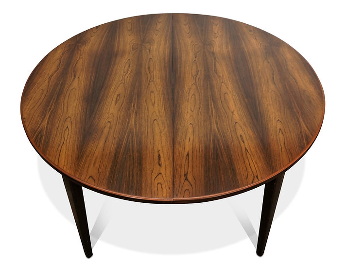 (SOLD) Round rosewood dining table with one leaf