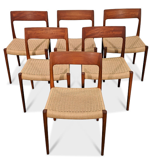 (SOLD) 6 N.O.Moller Dining Chair model 77