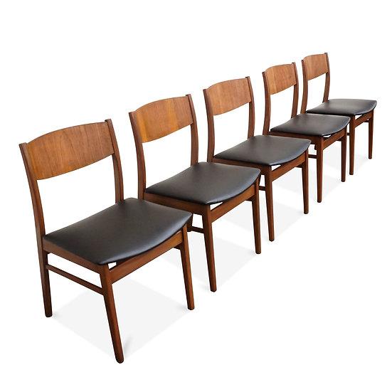"(SOLD) Set of 5 Beach-wood & Teak Chairs - ""Hvidovre"""