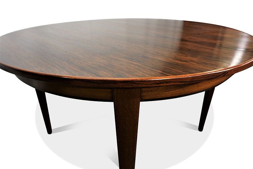 (SOLD) Round rosewood dining table with one leaf - Kim