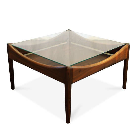 "(SOLD) Rosewood Side Table With Glass Top - ""Gernsgade"""