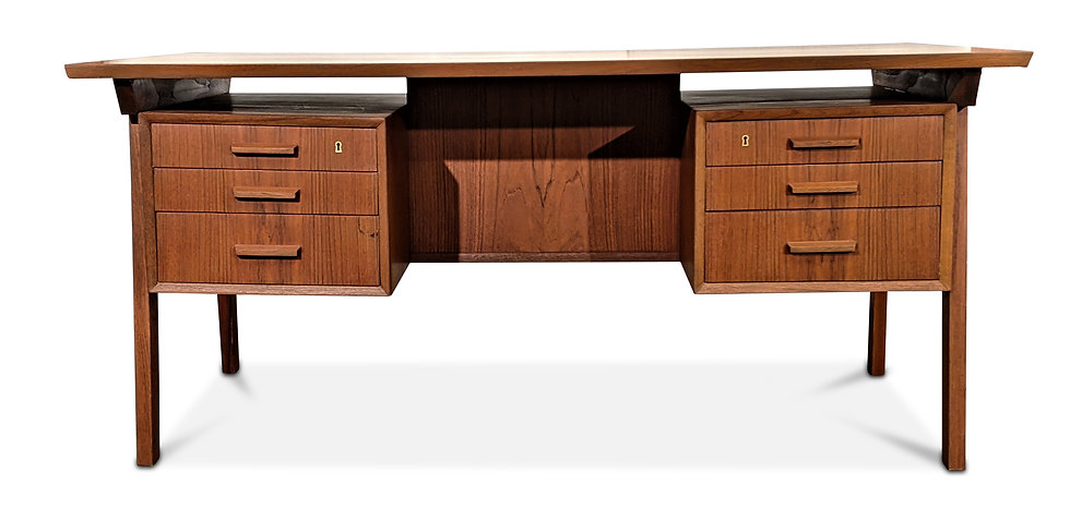 (SOLD) Large Teak Desk - Guldsjakal