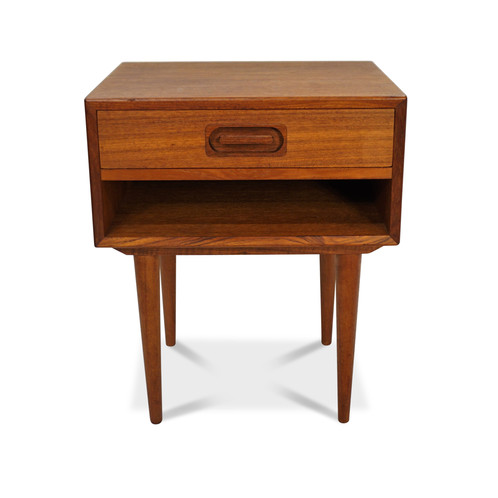 Danish Mid Century Teak Side Table With Drawer - Teak side table with drawer