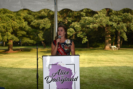 Julia, the 73rd and 74th Alice in Dairyland, speaking at the Dinner in Dane event that benefited the 75th annual Alice in Dairyland finals in Dane County.