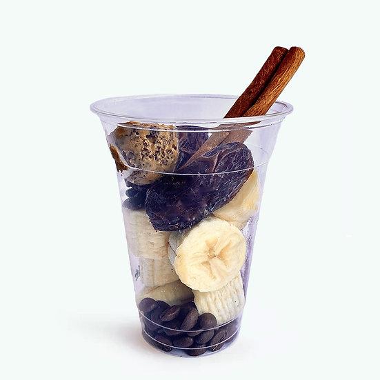 Shake café - קפה, אבקת קקאו, חמאת בוטנים, בננה, תמר, קינמון