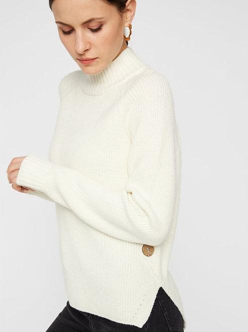 Knopfdeteil Pullover Creme Pieces