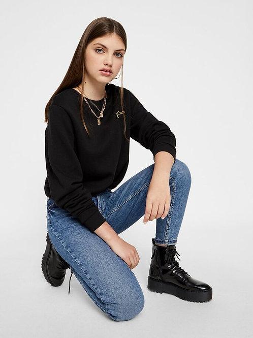 Mom Jeans Cropped Medium Blue Denim