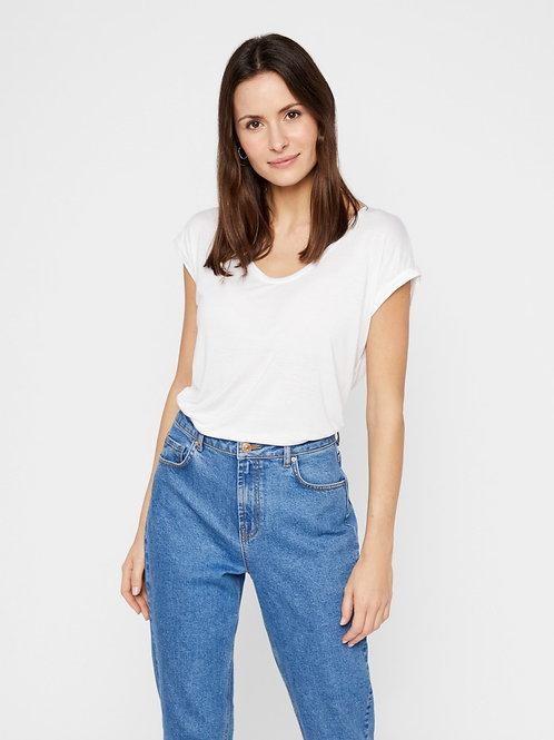 T-Shirt U-Ausschnitt Weiß Pieces
