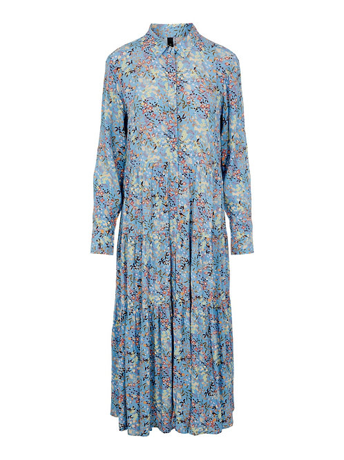 YASSANTOS LS LONG SHIRT DRESS DUSK BLUE W SANTOS PRINT