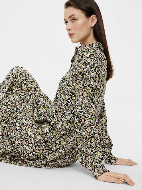 PCTY LS SHIRT DRESS D2D - BLACK FLOWER PRINT