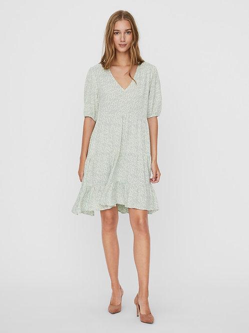 VMOHANNA 2/4 V-NECK SHORT DRESS SILT GREEN OHANNA BIRCH