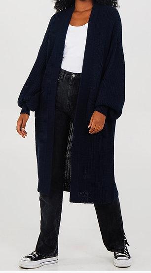 Plain ballon sleeve long cardigan