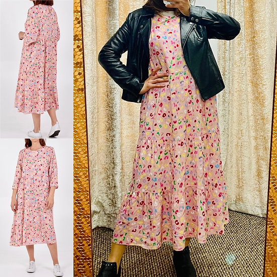 Leopard Print Smock MIDI Dress - baby pink