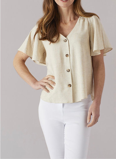 Angel Sleeve Linen Top Natural
