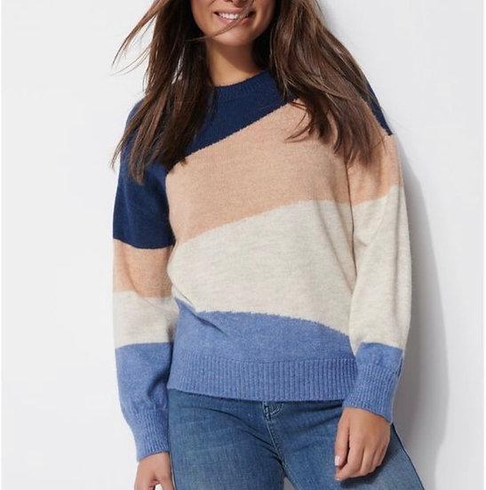 Khost Stripe oatmeal over sized jumper