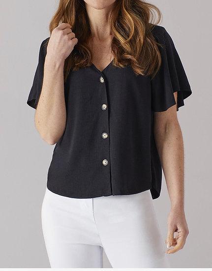 Angel Sleeve Linen Top - BLACK