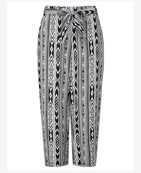 Tie Waist Crop trousers - Tribal print