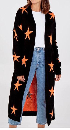 Star knit longline cardigan
