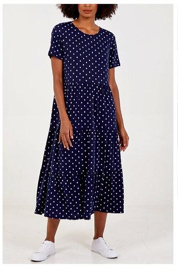 Polka Dot Tiered Smock Dress