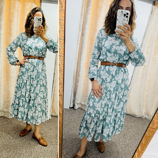 Leaf Print Button Front Tiered Maxi Dress