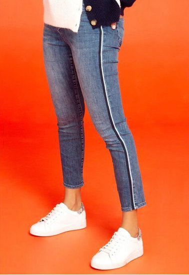 Side stripe detail jeans