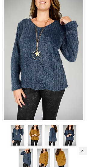 Eyelash Vneck Knit Top