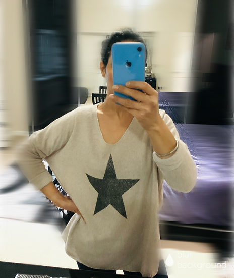 Contrast Star Brushed Italian Top