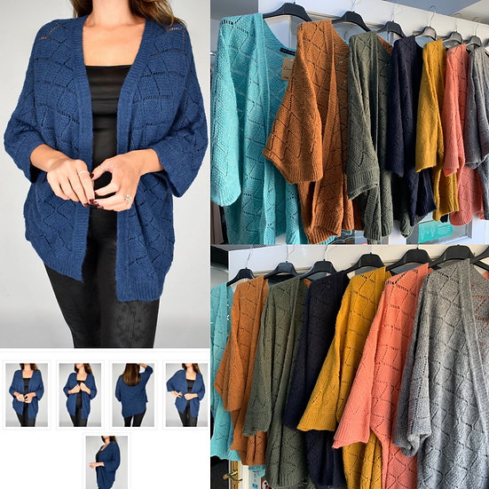 Batwing open front wool cardigan
