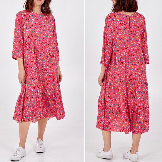 Leopard Print Smock MIDI Dress -hot pink
