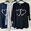 Thumbnail: Ladies 2 Hearts Foil Graphic Top Black