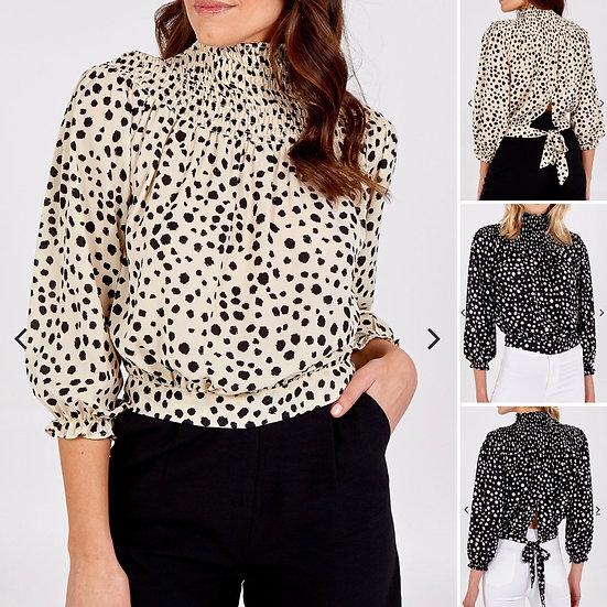 High Neck Leopard Print Top- Beige