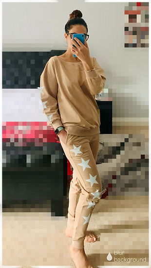 LOUNGEWEAR CO ORD SET IN CAMEL WITH STARS