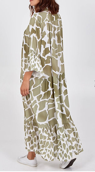 Giraffe Print MIDI Smock Dress