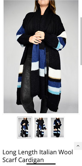 Wool longline cardigan with matching scarf