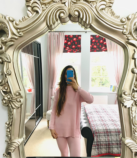 Ribbed funnel neck loungewear - Pink