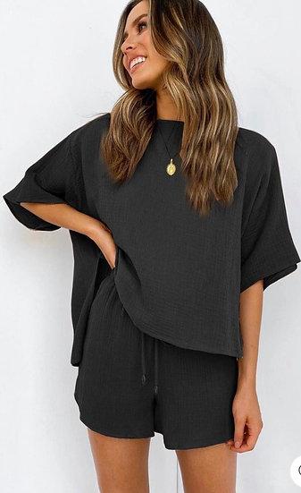 Oversize 2in1 Loungewear Co Ord Set in Black